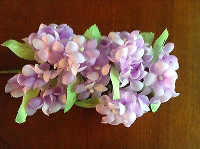 """Vintage Millinery Flower Hydrangea Cluster of Six bunches of 1"""" Blooms Lilac UD"""
