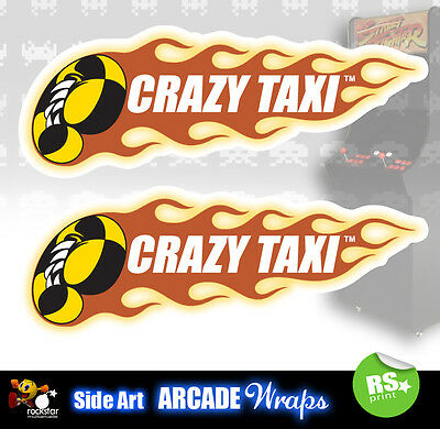 Crazy Taxi Arcade Side Artwork Panel Stickers Graphics  / Laminated All Sizes