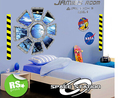 Kids Bedroom Personalised Space Station Window Wall Sticker V.lrg.