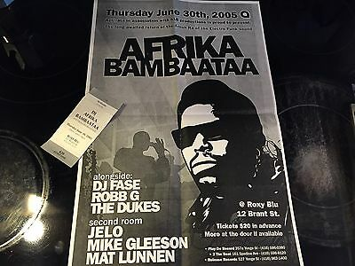 Original Afrika Bambaataa Flyer With Ticket Stub 2005 Planet Rock