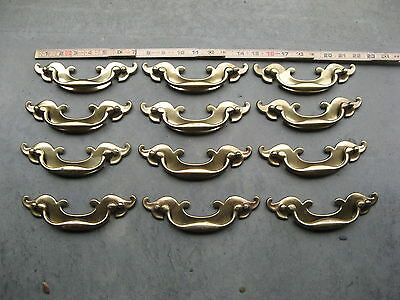 Vintage OLD KBC Keeler Brass Colonial Drawer FURNITURE Pulls Set OF 12 N08578