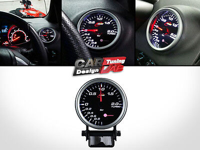 RaceTech 80mm Turbo Boost Smoke StepperMotor LED Gauge Meter White LED BAR PSI