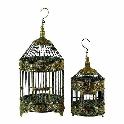Woodland Imports 90533 Metal Bird Cage Garden Decorative Items (set of 2)