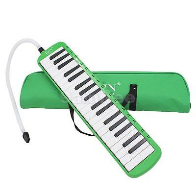 37 Key Melodica Piano Keyboard Style Wind Instrument With Carrying Bag Green