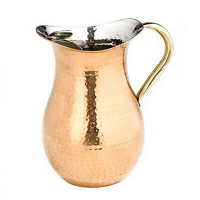 Old Dutch International 809 1½-qt Copper Hammered Water Pitcher with Bras
