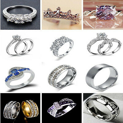 Charm Unisex Stainless Steel Crystal Ring Men/Women's Wedding Band SZ 6-12 TR