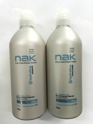 NAK HYDRATING SHAMPOO AND CONDITIONER 1 LITRE with Pumps (1000ml)