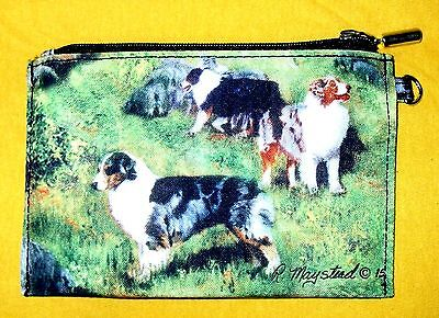 AUSTRALIAN SHEPHERD Zippered Pouch by Maystead / full color both sides / NEW