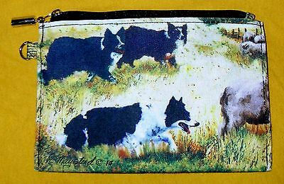 BORDER COLLIE Zippered Pouch by Maystead / full color both sides / NEW