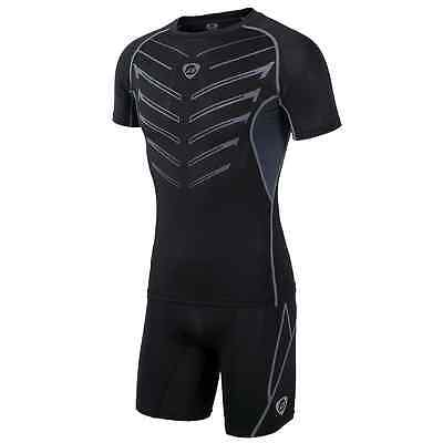 Men Sport Fit Skin Compression Tight Training Motorcycle Racing Apparel Suit Set