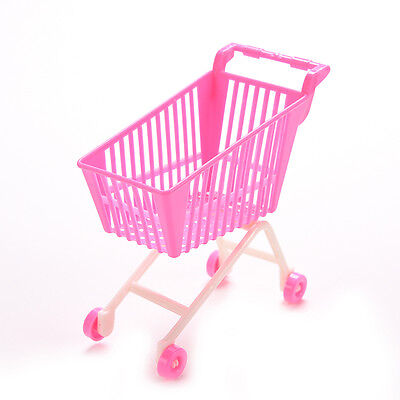 1 X Mini Supermarket Trolleys for Barbie Kids  Doll Toy Accessories Pink 3C