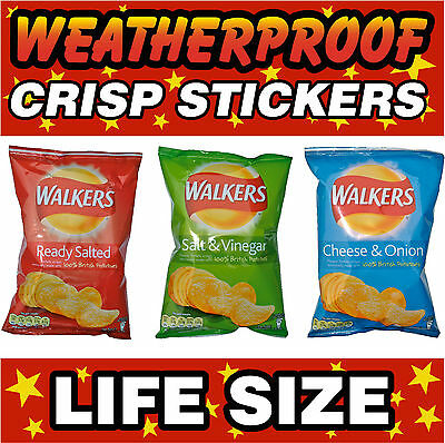 WALKERS CRISPS Lifesize Decal Cut Printed UV Laminated Food Stickers x 3