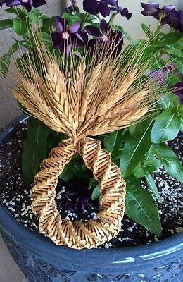Wheat Weaving Straw Craft Wreath Decor Ornament Hand Made Vintage