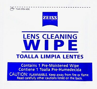 Zeiss Lens Cleaning Wipes Pre-moistened for Eyeglass Optics, Individually Sealed