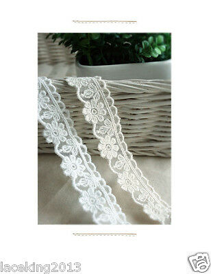 "14Yds Embroidery scalloped cotton eyelet lace white 0.8"" YH1442 laceking2013"