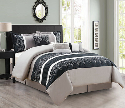 11 Piece Gray/Black/White Bed in a Bag Set