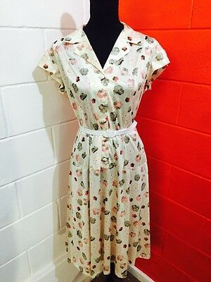 Vintage 1970s Retro Flower Print Day Dress Sz 14-16 Brand Celebrity Series Osti