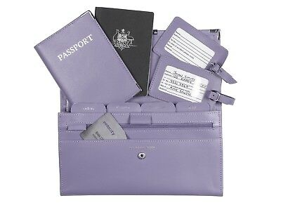 Leather Travel Wallet Organiser Document Set Lilac - Brand New