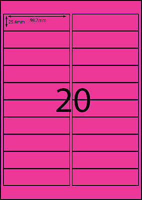 A4 Labels Avery Compatible  100 sheets-FLUORO PINK -20 labels page **DL RANGE