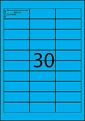 A4 Labels Avery Compatible 100 sheets-FLUORO BLUE-30 labels page **DL RANGE