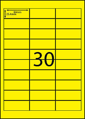 A4 Labels Avery Compatible 100 sheets-FLUORO YELLOW-30 labels page **DL RANGE
