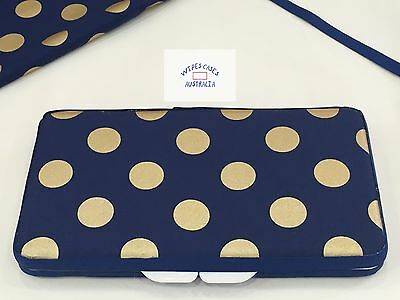 Navy With Gold Dots Baby Wipes Case - Perfect Gift For Baby Shower