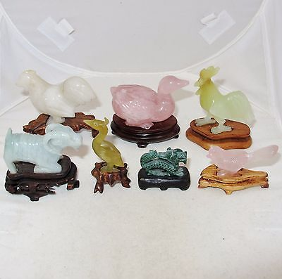 "7 Small Antique & Vintage Chinese Carved Stone Animals  (2.9"" to 1.25"" tall)"