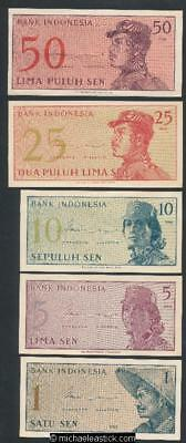 Indonesia 5 x Uncirculated Banknotes from 1964