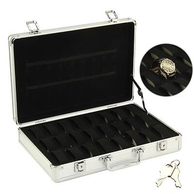 Aluminum 32 Watch Jewellery Storage Display Box Briefcase Traveling Safety Case