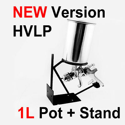 Quality Gravity Feed HVLP PAINT SPRAY GUN 1.7mm Nozzle 650cc Pot + Stand Holder