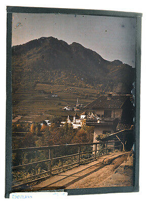 """Autochrome 9x12cm """"mountain village"""" 1912 well preserved A11"""
