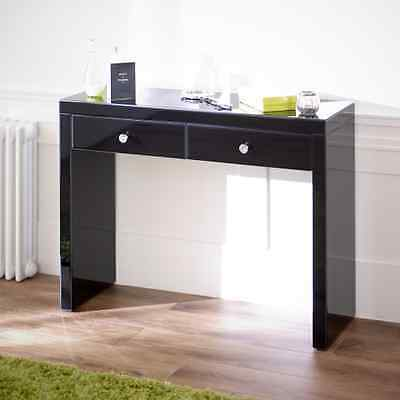Venetian Black Glass 2 Drawer Dressing Table - Hall Console - Mirrored VEN76