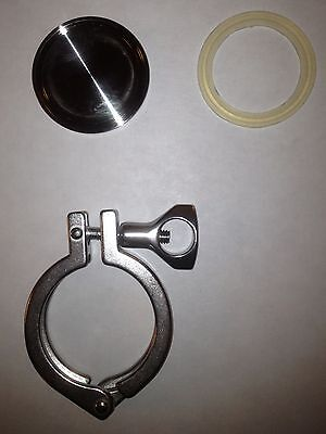"2"" Tri-Clover Stainless Clamp, Cap +Gasket Sankey Beer Keg Sealing Kit Fermentor"