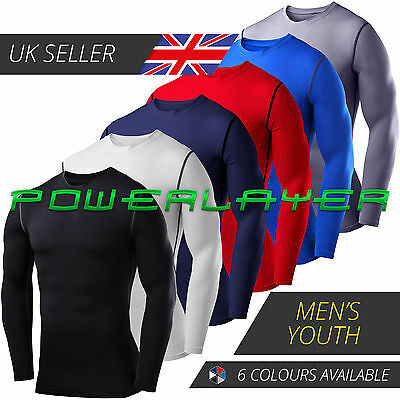 Mens Boys PowerLayer Compression Baselayers Thermal Running Gym Top Long Sleeve