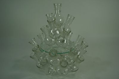 Glass Party Hors d'Oeuvres Holder Wreath, Catering Centerpiece, Food Display 3pc