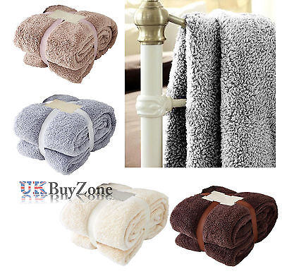 Luxury Soft Teddy Bear Throw Fleece Blanket Cuddly Thick Warm Sofa Bed Throw