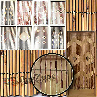 bamboo hanging door curtain wooden beaded fly bug screen blinds various designs - Fly Bambou