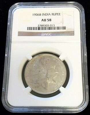 1906 B Silver India British Rupee King Edward Vii Coin Ngc About Uncirculated 58