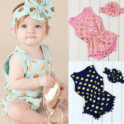 Baby Girl Clothes Gold Dots Bodysuit Romper Jumpsuit Bow Head Band Outfits Set