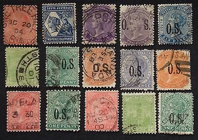 South Australia Lot Of 15 Stamps Used Centring Fresh Splendid Rare