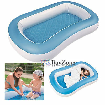 Childs Baby 2 in 1 Inflatable Soft Floor Paddling Pool Camping Air Bed Mattress