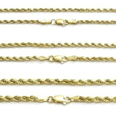 "10K Gold Diamond Cut Hollow Rope 18"" Chain Necklace 2mm, 2.5mm, or 3mm"