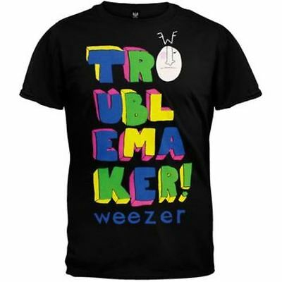New: WEEZER - Troublemaker Tour 2008 (Black) Mens Rock Concert T-Shirt
