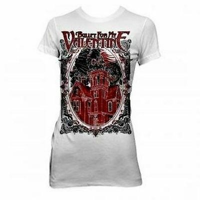 New: BULLET FOR MY VALENTINE - Skull House Slim-Fit Tunic Metal Concert T-shirt