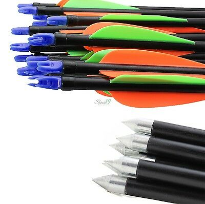 Archery Hunter Steel Arrows Blue Nocks Fiberglass Hunting for Target Practice