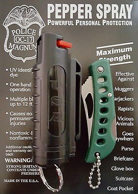Police Magnum mace pepper spray .50oz black molded keychain pocket knife defense