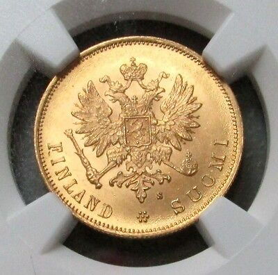 1879 S Gold Finland / Imperial Russia 10 Markkaa Ngc Mint State 65