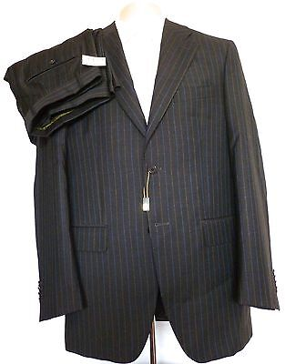 NWT $2,000 Luciano Barbera HANDMADE Men's Gray Striped Wool Suit 38 AUTHENTIC