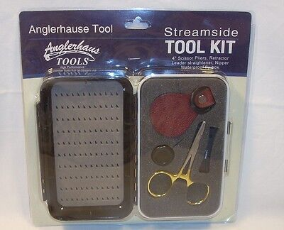 Anglerhause Streamside Tool Kit Scissors Pliers Nipper & Waterproof Fly Box