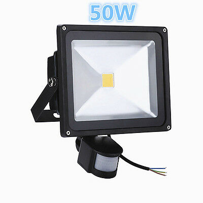 50W LED Floodlight With PIR Motion Sensor Security Garden Cool White Outdoor
